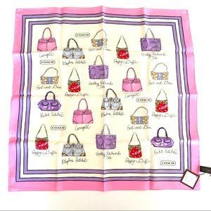"Coach Silk Scarf Handbag print 27"" Pink Lavender"